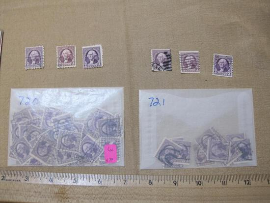 3 Cent George Washington Postage stamps mostly cancelled Scott #s 720, 721