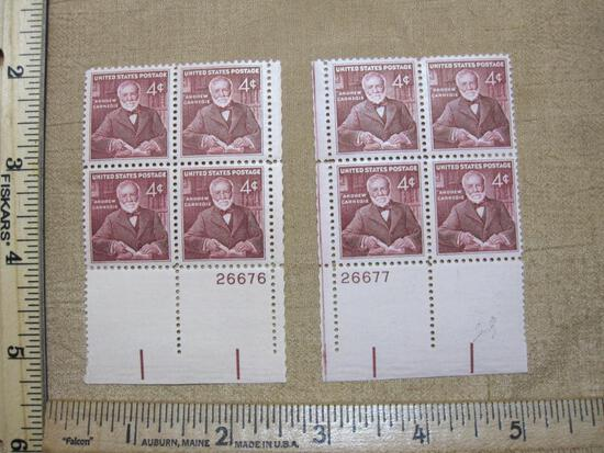 Two blocks of Four 4 Cent Andrew Carnegie Postage Stamps Mint Gum Scott # 1171