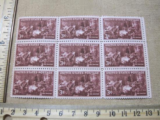 Block of Nine 3 Cent The Doctor Postage Stamps Scott # 949