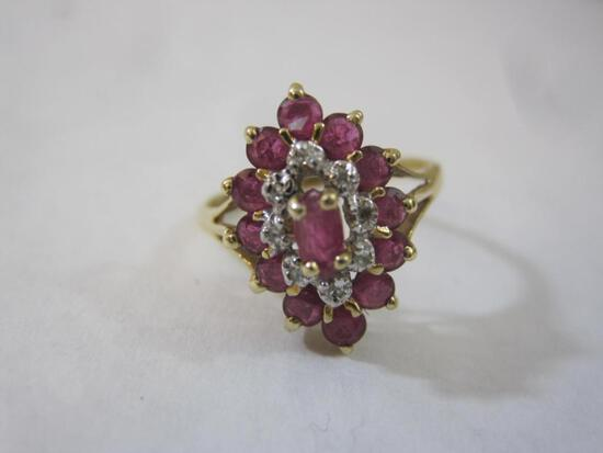 10K Gold Ring with Dusty Rose Gemstones, size 6, 2.1 g total weight