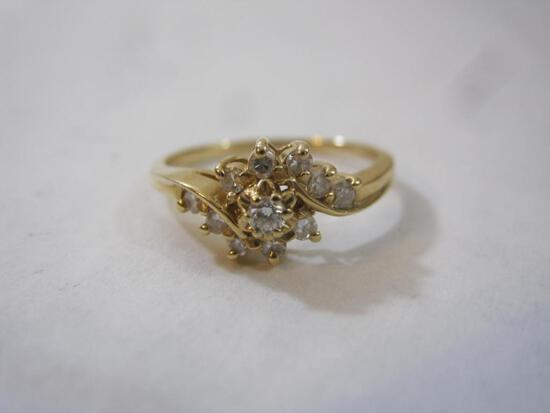 Beautiful 14K Gold and Diamond Ring, size 6, marked 14K, diamonds have been tested, 2.1 g total