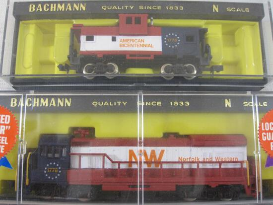 Two N Scale Bachmann Train Cars including U36B Diesel Norfolk & Western Locomotive and Wide Vision