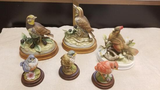 Large and Small Bird Figurines by Andrea, Meadowlarkm Cardinal and more