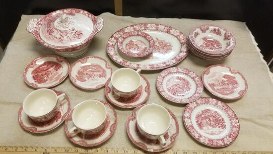 Red Transferware, Rare Red Willow Lot of Antique Dishware, Large Platter, Covered Serving Bowl and