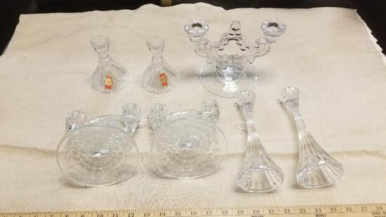 Lot of Crystal and Heavy Glass Candle Stick Holders