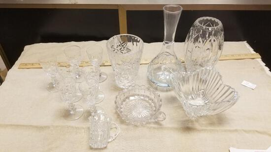 Lot of Heavy Pressed Glass Vases and more, 13 items total