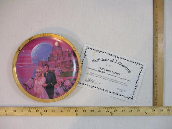 "Star Trek ""The Menagerie"" Commemorative Plate, 8th in the series, 1986, with COA, 1 lb 8 oz"