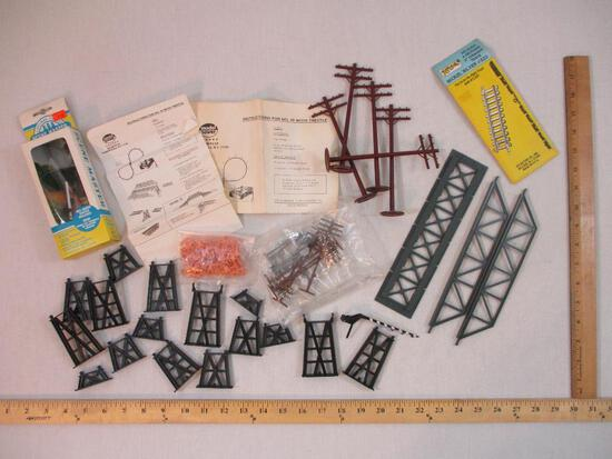 Lot of Assorted Train Accessories including HO Scale Trestle Bridge, HO and O Scale Utility Poles,