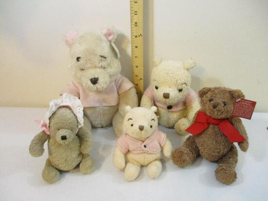 Five Plush Bears including 3 Baby Pooh Bear (Walt Disney), Lenox, and Gund, 1 lb 11 oz