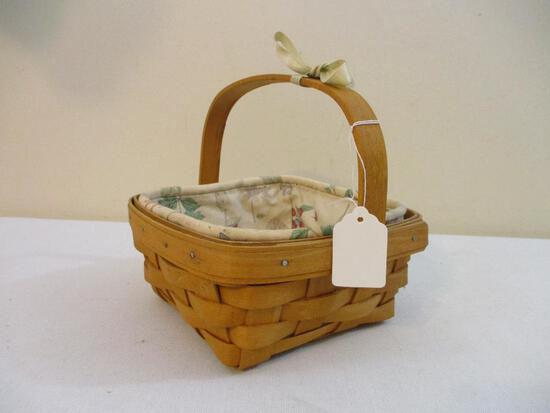 Longaberger Basket with Floral Liner, 7 oz