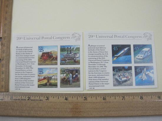 Two 20th Universal Postal Congress Souvenir Sheets, USPS 1988