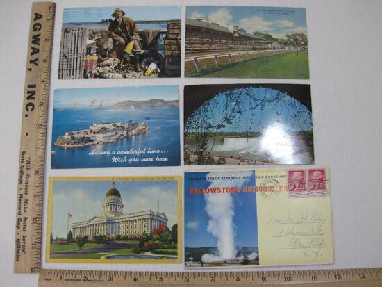 Six United States Post Cards including Yellowstone National Park Postcard Booklet, Utah State