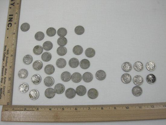 Buffalo Nickels including some 1920s-1930s