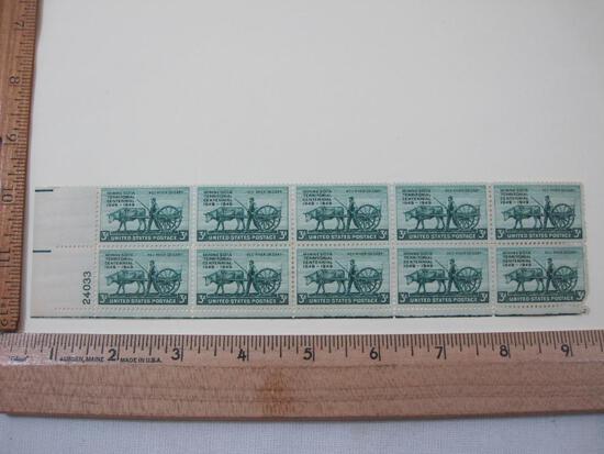 Block of 10 1949 Minnesota Territorial Centennial 3-cent US Postage Stamps, Scott #981