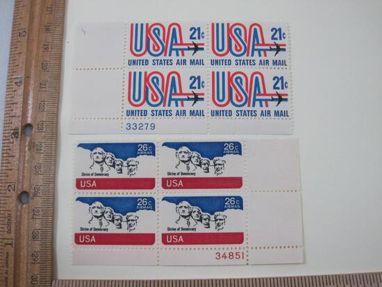 Two Blocks of 4 USA Air Mail Postage Stamps including 21-cent and 26-cent Shrine of Democracy