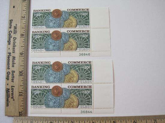 Two Blocks of Four 10 Cent Banking Commerce U.S. Postage Stamps Scott #1577-1578