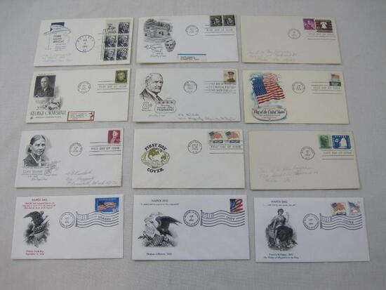 First Day Covers including 1966 Lincoln Coil, Honoring General John J. Pershing, 1968 Saluting Flaf