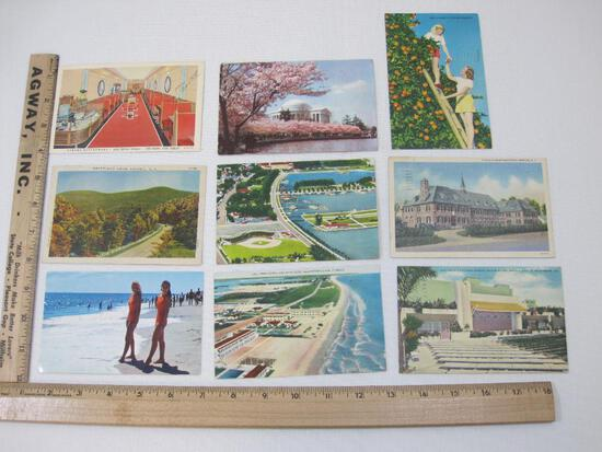 Nine Vintage Landscape themed U.S Post cards from Red Bank NJ, St.Petersburg Florida, Copake NY,