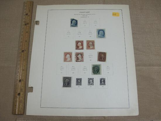 Nine 1857-1861 US Postage Stamps Hinged includes One Cent, Three Cents, Five Cents, Twelve Cents
