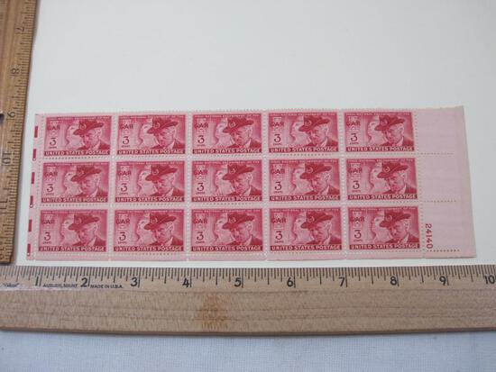 Pane of 15 Final National Encampment of the GAR 3-cent US Postage Stamps, Scott #985