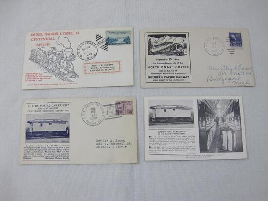 First Day Covers including 1948 First Transcontinental trip North Coast Limited, 1949 Hartford