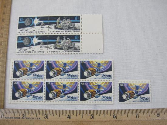 US Space Postage Stamps including Block of 4 United States in Space 8-cent (Scott #1434-5) and Block