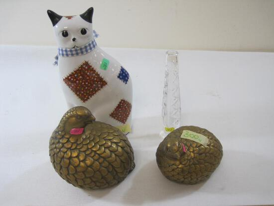 Assorted Home Decorations including Glass Cat Figurine, 2 Metal Quails, Crystal Bud Vase