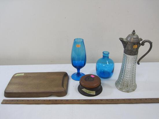 Glassware and Pitcher with Wooden Cutting Board and Wooden Coasters