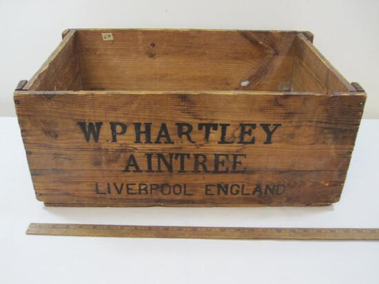 Wooden Crate WP Hartley Aintree Liverpool, England Approx. 23 x 15 x 10 inches