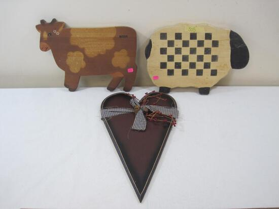 Cow, Sheep and Hanging Heart Wooden SIgns