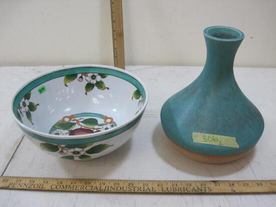 Turquoise Pottery Vase and Decorative Hand-Painted Floral Bowl