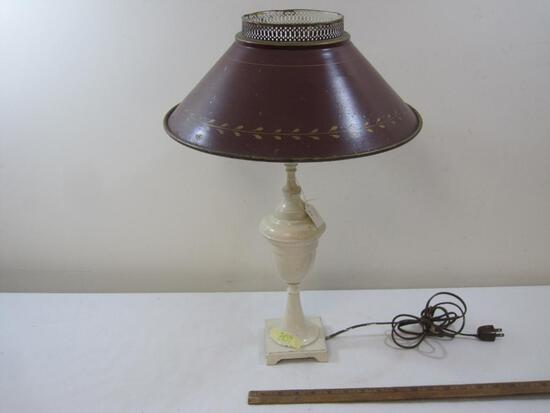White Metal Table Lamp with Shade Approx. 22in Tall