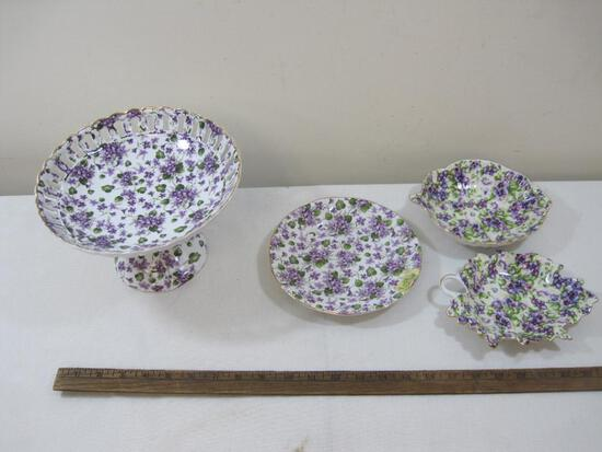 Three Royal Danube Violet Pattern Dishes and a similar footed Serving Dish