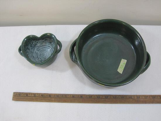 Dark Green Serving Bowl and Heart Shaped Cup