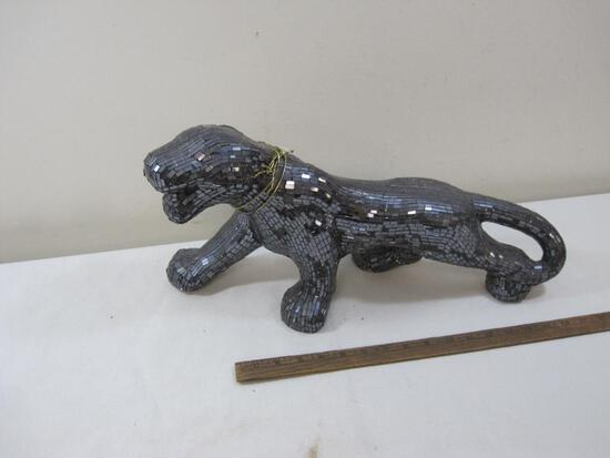 Glass Mosaic Black Panther Statue 20 inches Long