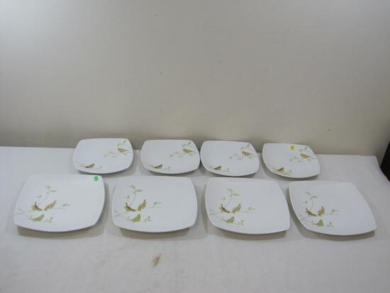 Chintz Bird Pattern 222 Fifth Plates, Four 8 inch and Four 10 inch plates, eight total