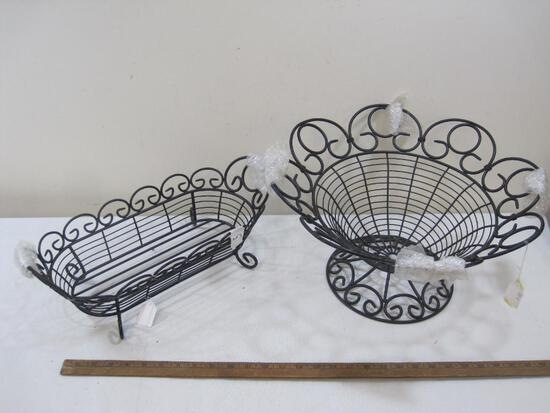 Two Metal Wire Fruit Baskets 9x17in and 5x18in