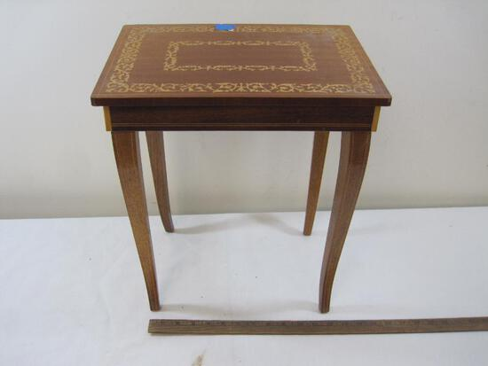 Wooden Wind-Up Music Box Table inlaid wood Approx. 17 inches tall