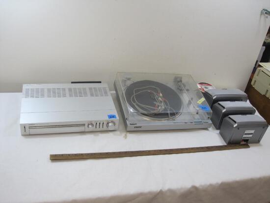 Vintage Onkyo Tuner Amp Model Tx20, Sony Turn Table Model PS-LX3, Three Sony Speakers with Speaker