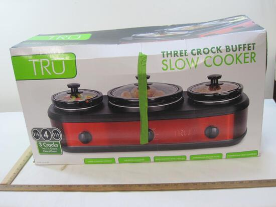 Tru Three Crock Buffet Slow Cooker in box Approx. 29 inches Long