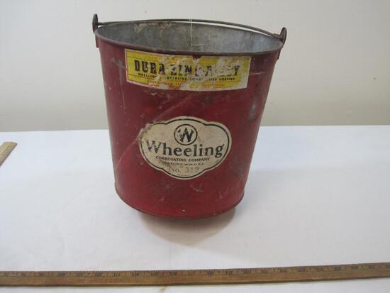 Metal Wheeling Corrugating Company Fire Bucket