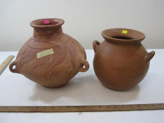 Two Pottery Vases with Handles, see pictures for details