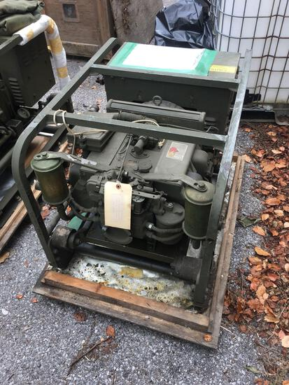 Military Standard Generator 3 KW 28 Volts DC 4 Cylinder Air Cooled, engine preserved with shipping
