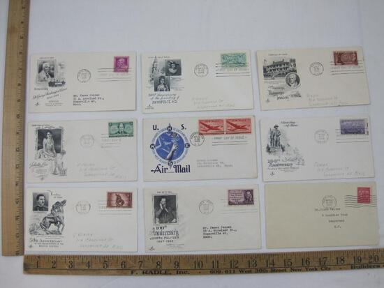 Nine 1940's and 1930's First Day Covers including Annapolis MD, 50th Anniv of the Rough Riders,