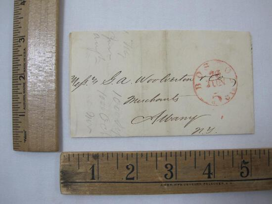 Stampless Cover Boston MS to Albany NY June 26 1847, 5cents, see pictures