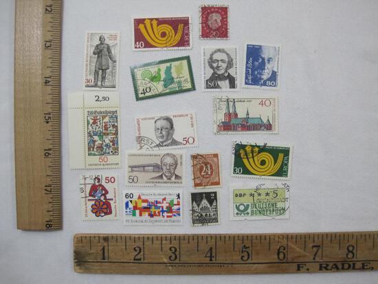 Assorted German Postage Stamps including Matthias Erzberger, Leopold Von Ranke, Ludwig Mies Van Der
