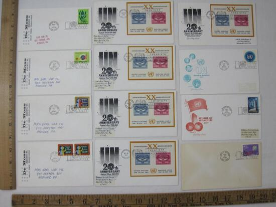 Twelve 1960'S First Day Covers includes UN 20th Anniv Souvenir Sheet, Education For Progress and