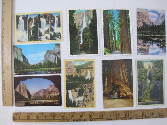 Nine Postcards Yosemite National Park, 1933, 1957 and others