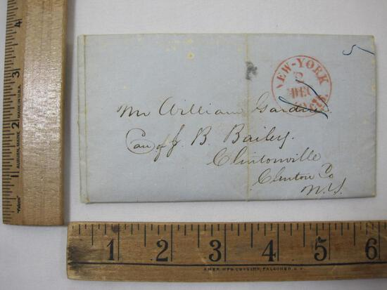 Stampless Cover 1845 Clintonville, Clinton Co NY
