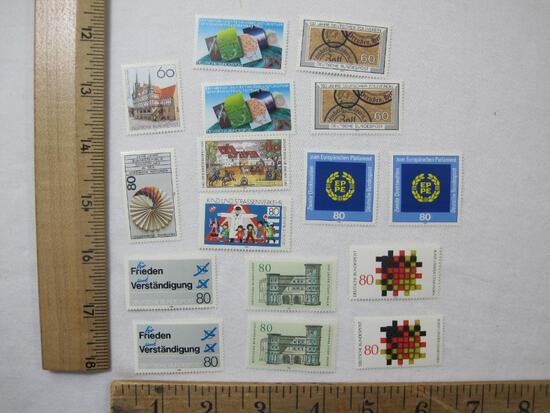German Postage Stamp Assortment including 2000 Jahre Stadt Trier, Kind Und Strassenverkehr, Tag Der